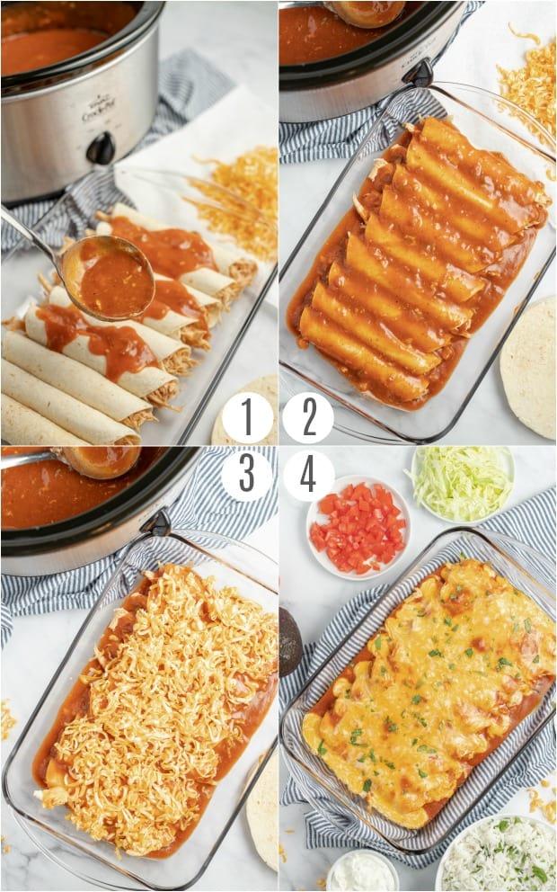 Step by step photos for baking crockpot enchiladas.