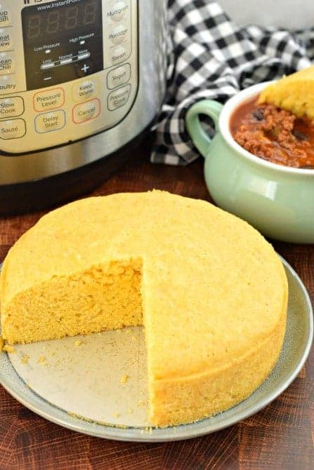 Cornbread made in the Instant Pot. Dunked in a bowl of chili.