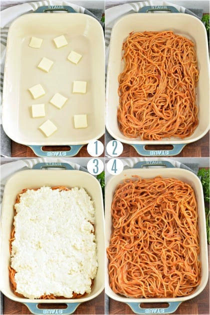 Step by step photos of spaghetti casserole assembly.