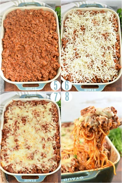 Step by step photos of spaghetti casserole with finished pasta picture.