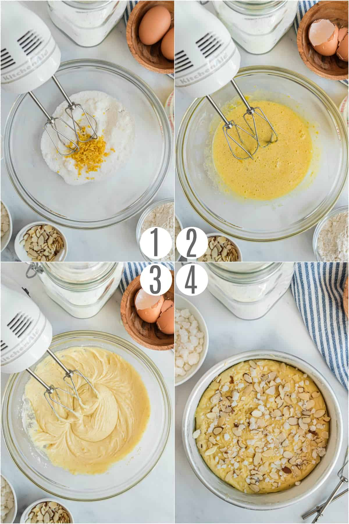Step by step photos showing how to make swedish almond cake.