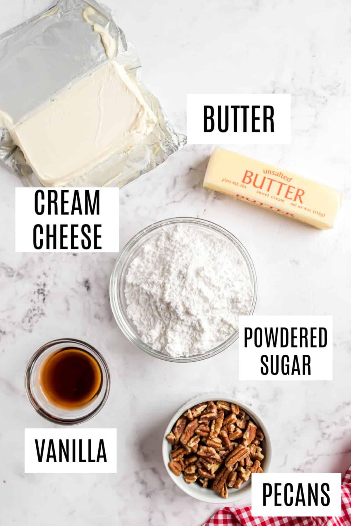 Ingredients needed to make cheesecake dip.