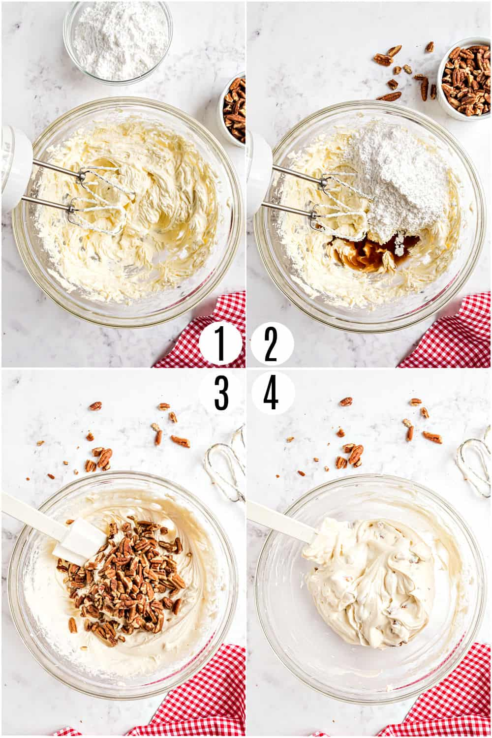 Step by step photos showing how to make cheesecake dip.