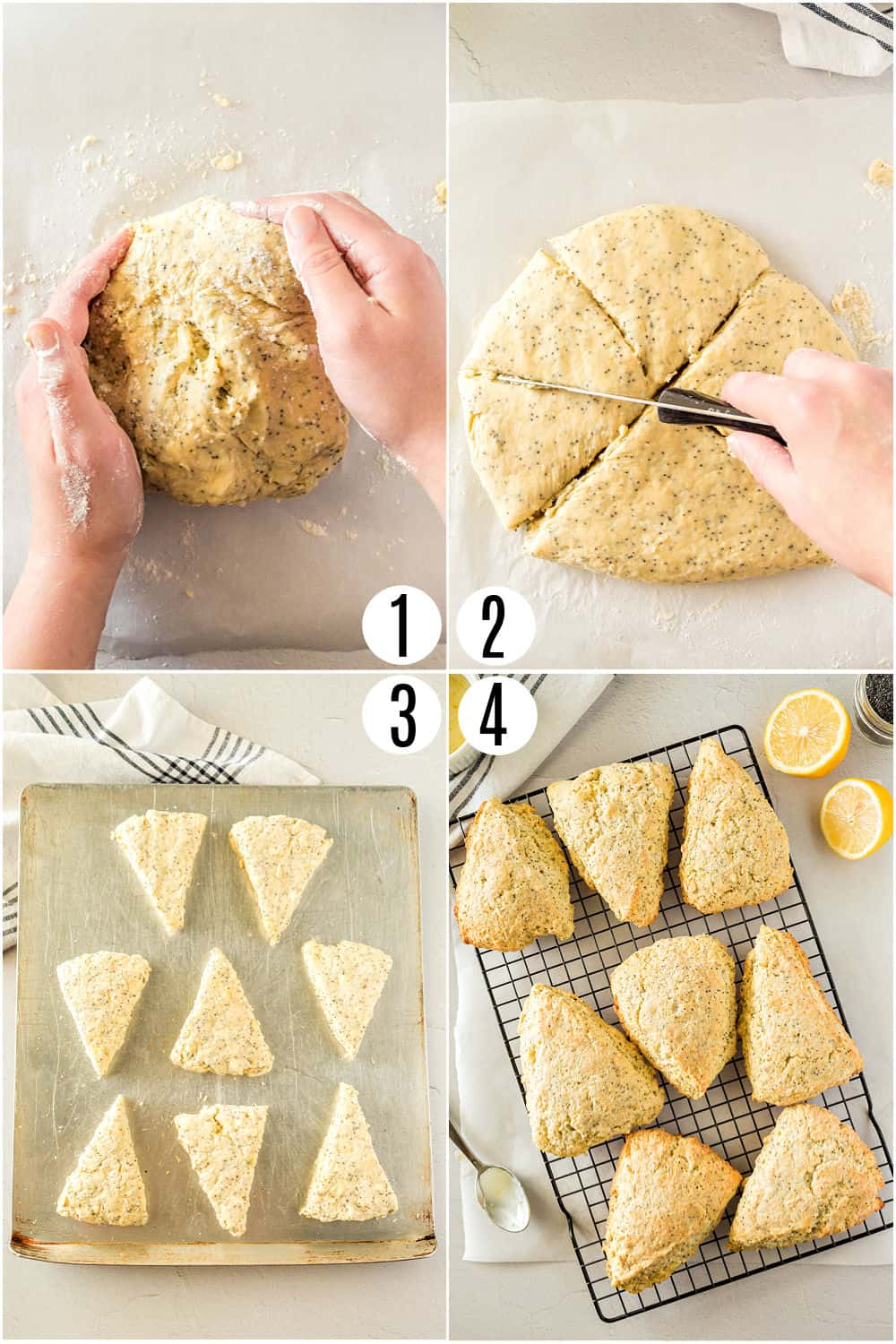 Step by step photos showing how to knead and shape dough for lemon scones.