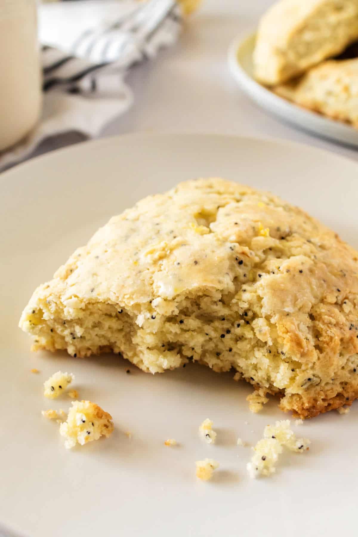 Lemon scone showing soft, moist texture.