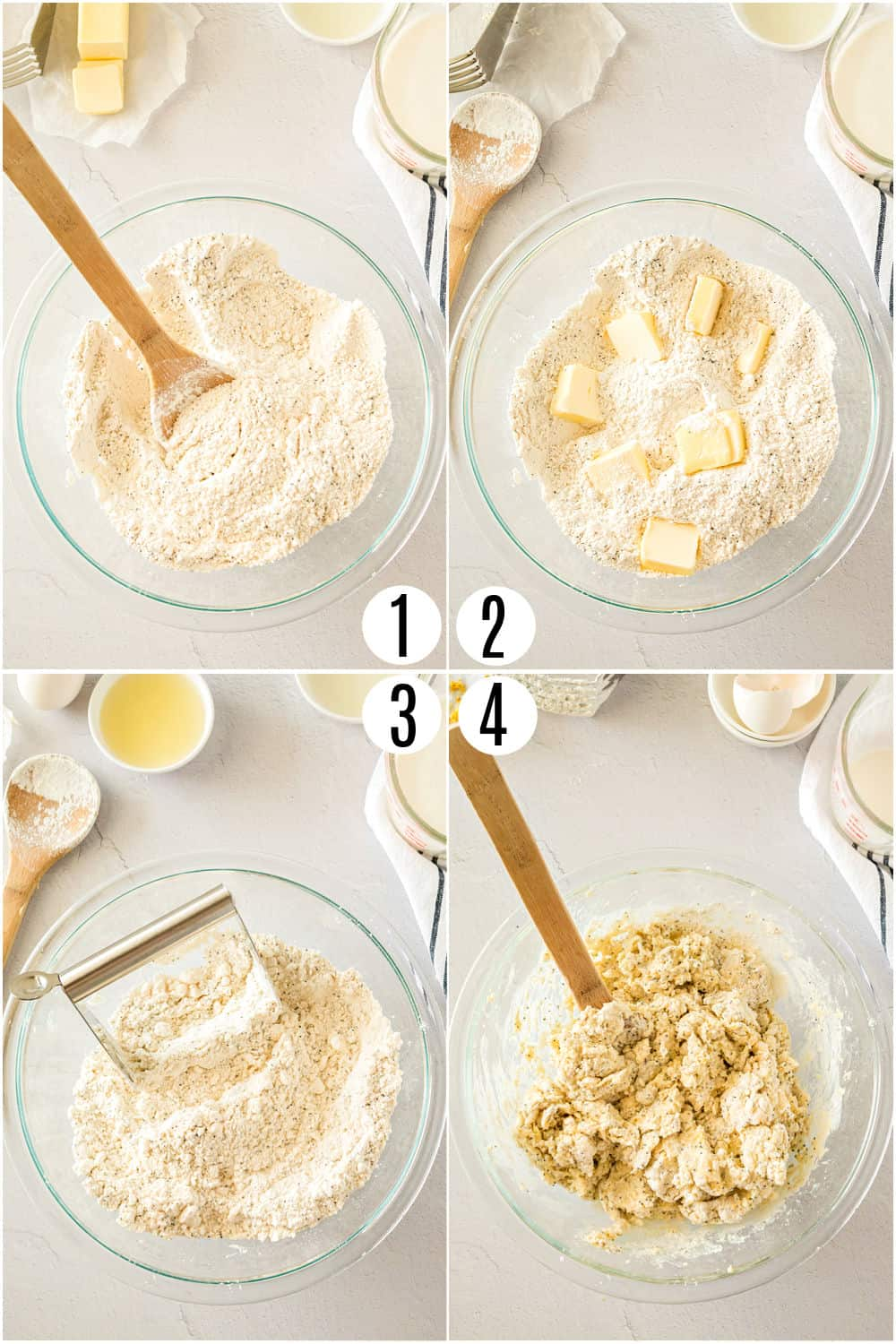 Step by step photos showing how to make lemon scone dough.