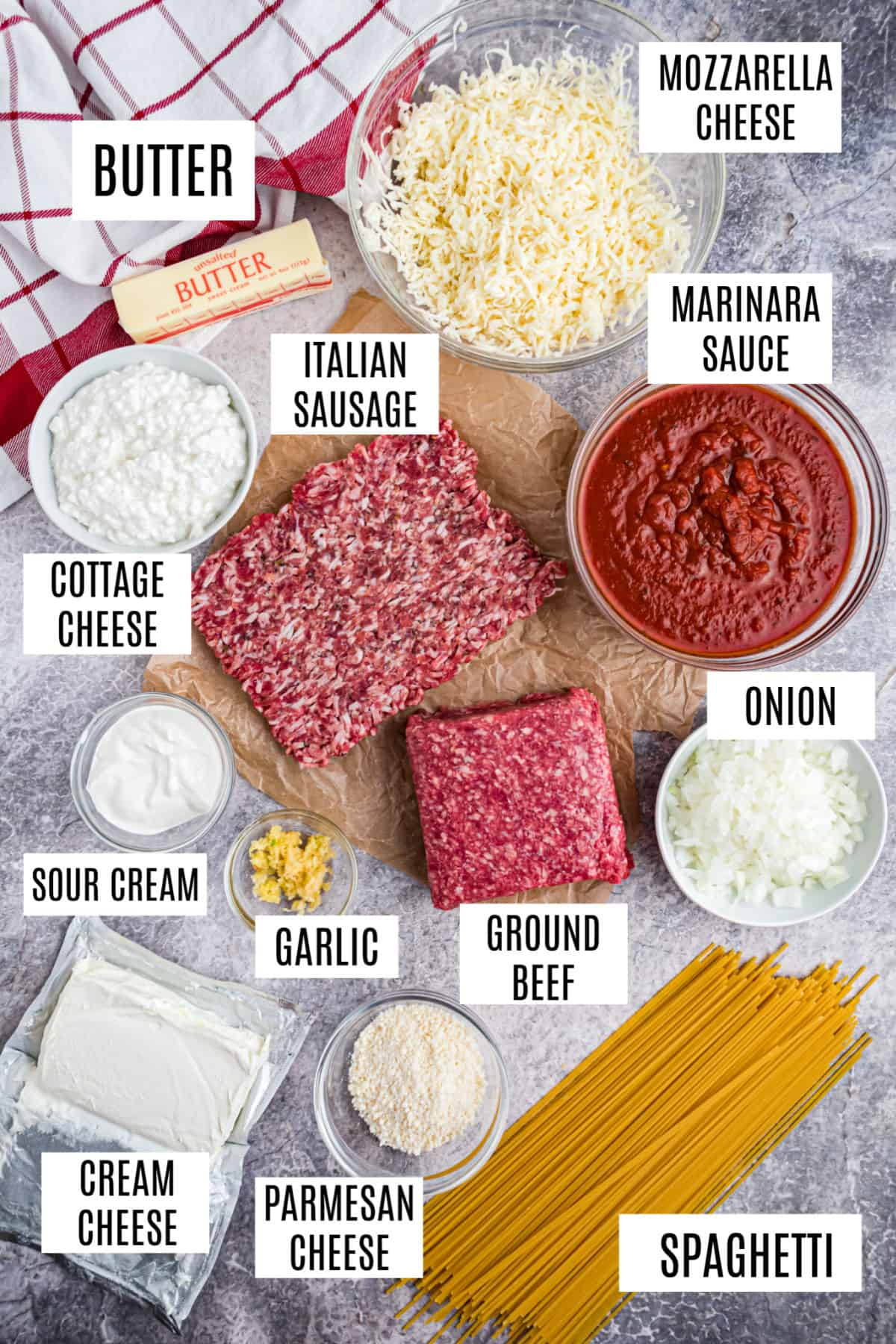 Ingredients needed to make a million dollar spaghetti casserole.