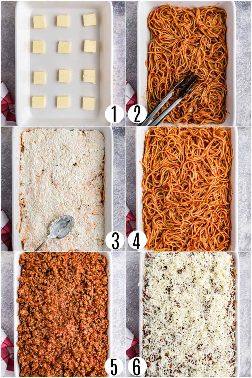 Step by step photos showing how to assemble spaghetti casserole.