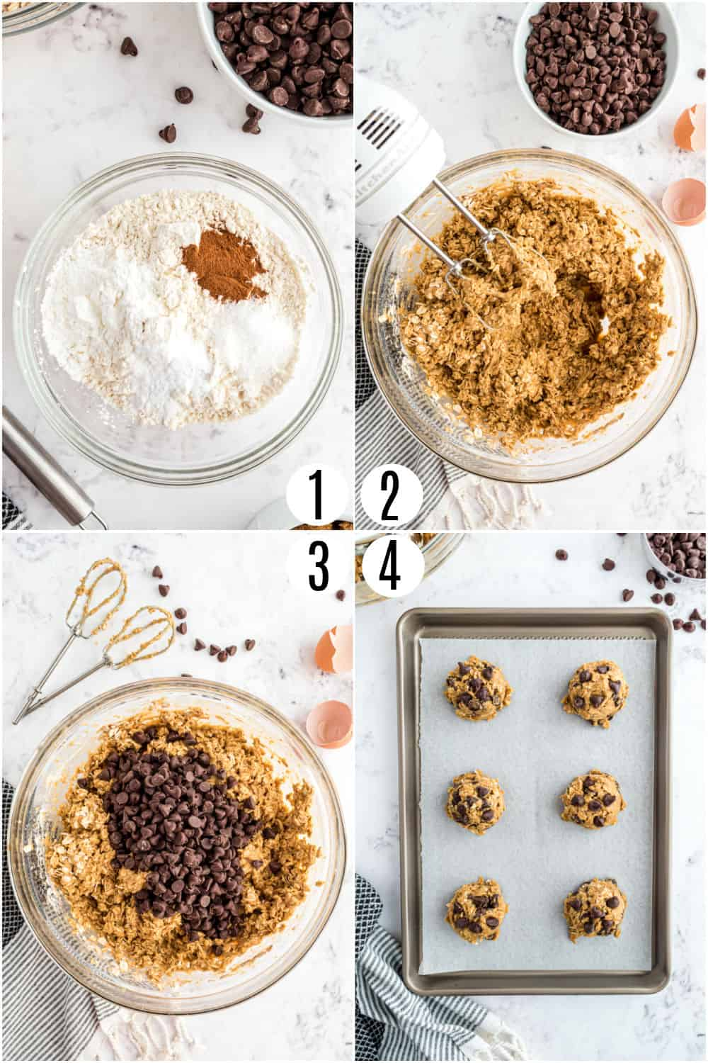 Step by step photos showing how to make oatmeal chocolate chips cookies.
