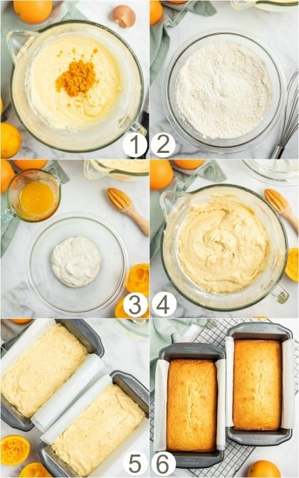 Step by step photos for how to make orange bread.