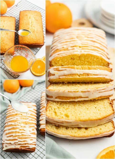 Step by step photos for adding glaze to orange bread recipe.