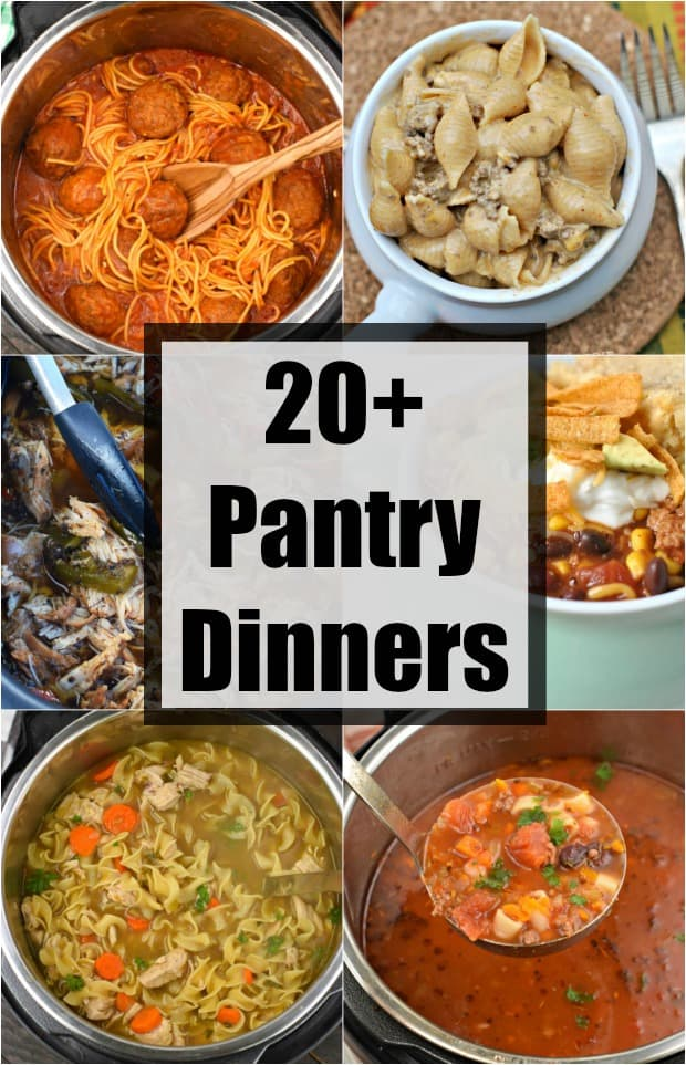 Collage of 6 dinner recipes made with pantry ingredients.