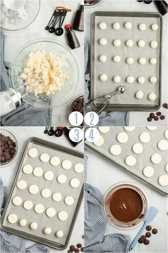 Step by step photos to make the peppermint patty filling.