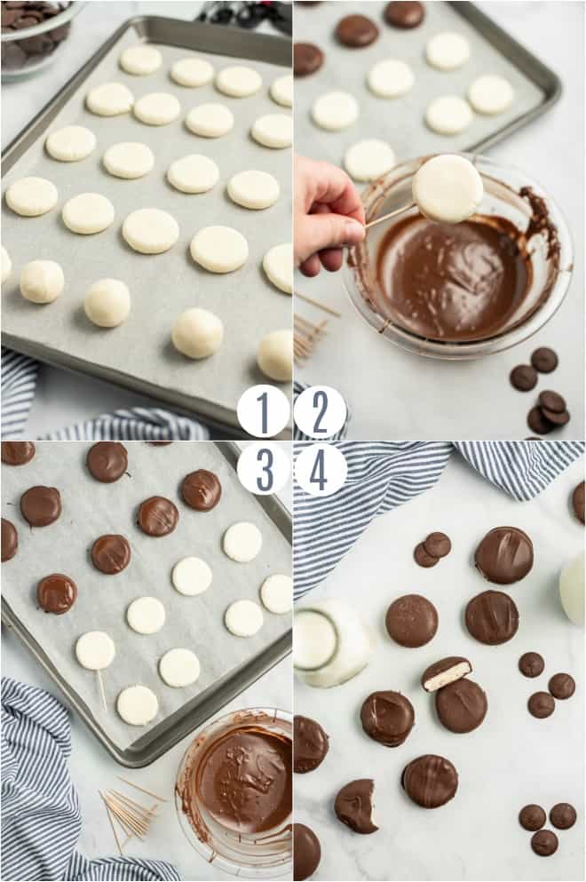 step by step photos to show how to dip peppermint patty into chocolate.
