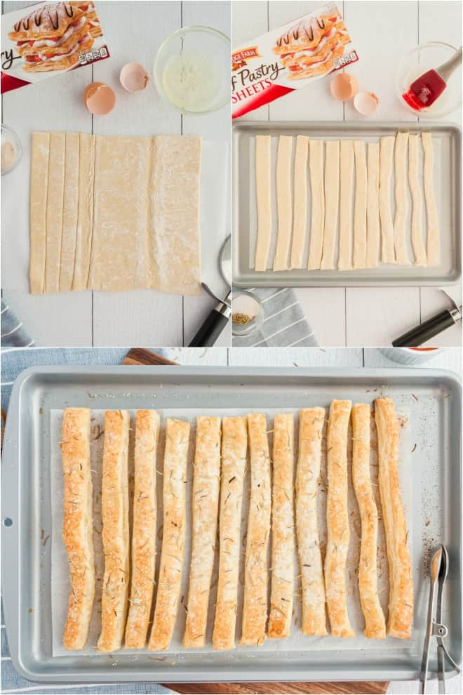 Step by step photos for making homemade puff pastry breadsticks.