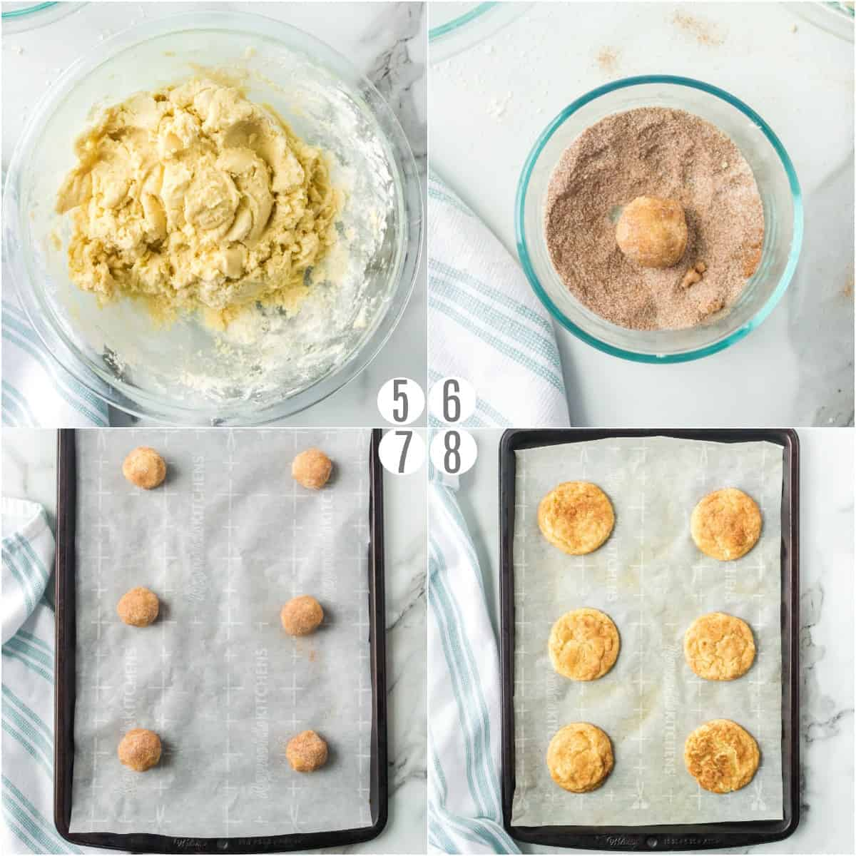 Step by step photos showing how to bake snickerdoodles with cinnamon sugar coating.