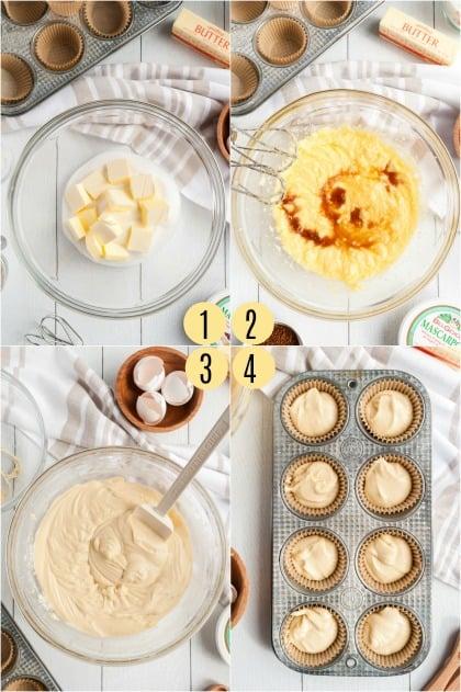 Step by step photos for how to make tiramisu cupcake batter.