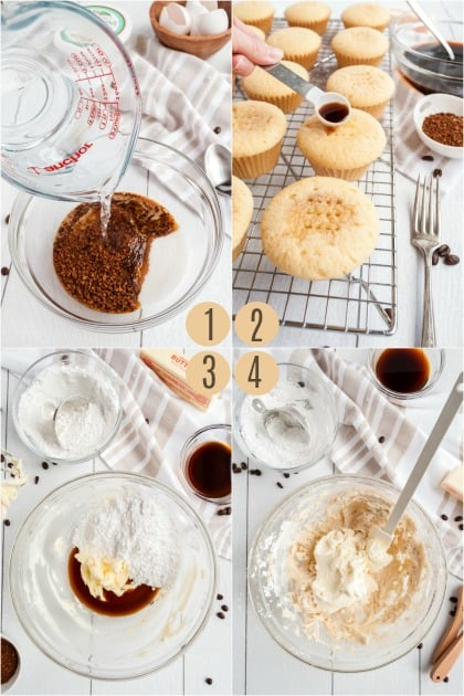 Step by step photos to make tiramisu cupcake filling and frosting.