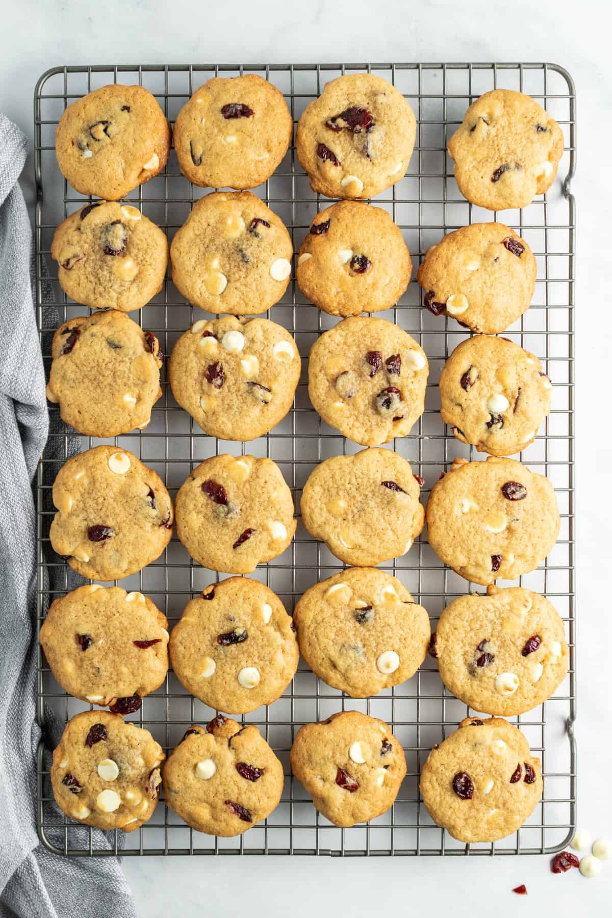 Cookie wire rack topped with a single layer of white chocolate cranberry cookies.