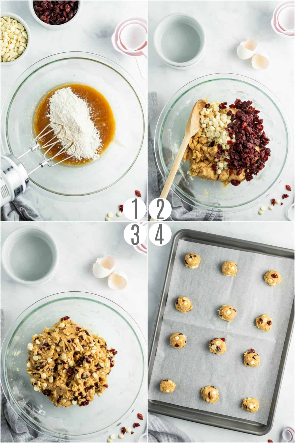 Step by step photos on how to make white chocolate cranberry cookies.