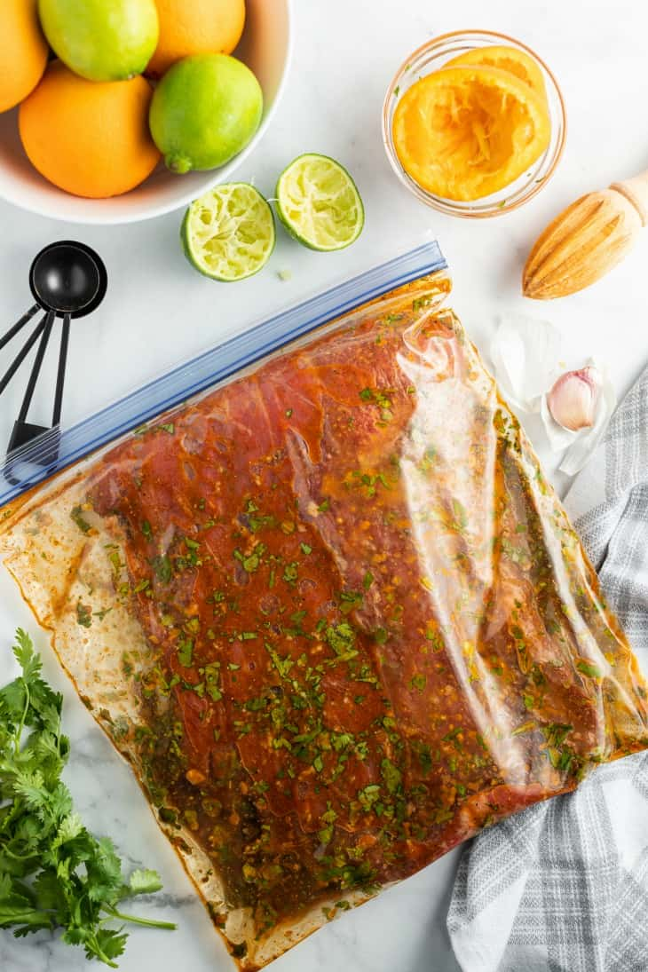 Flank steak marinated in a ziploc freezer bag with a zesty lime sauce.