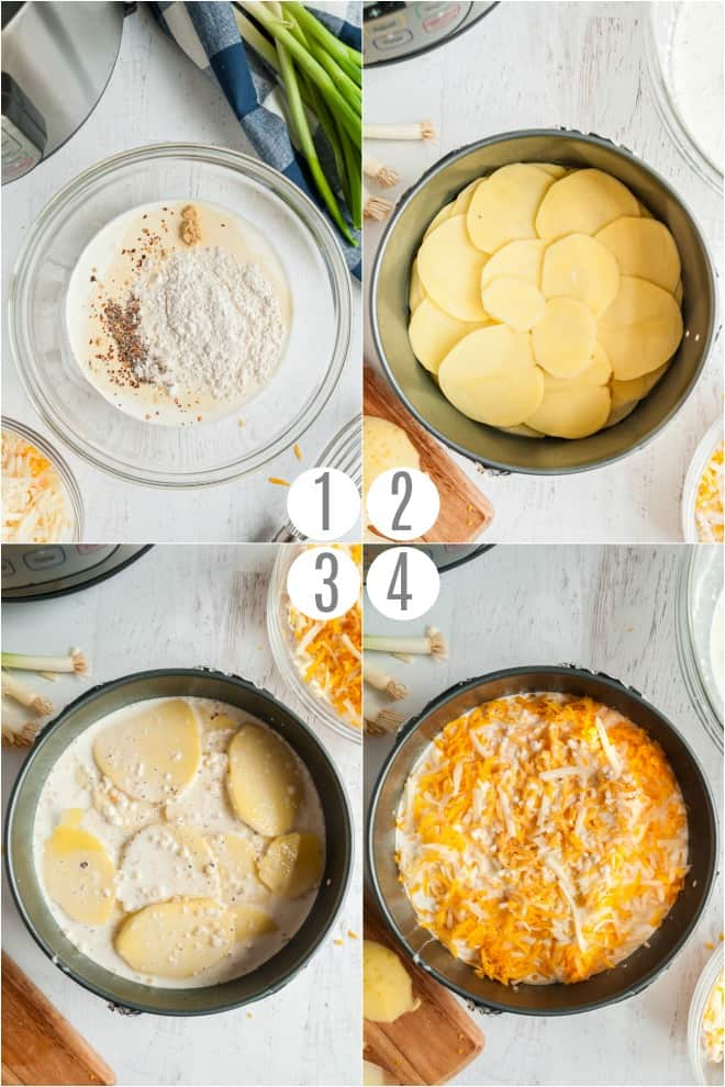 Step by step photos to make cheesy au gratin potatoes in Instant Pot.