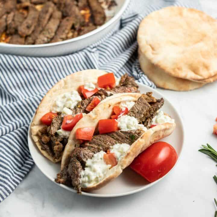 Beef Pitas with Tzatziki Sauce