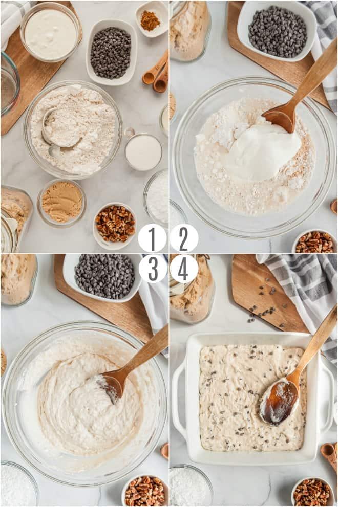 Step by step photos to make chocolate chip cake.