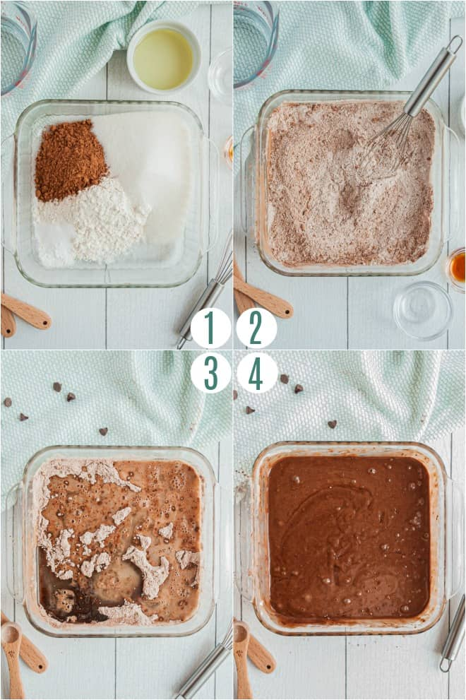 Step by step directions to make a chocolate depression cake IN the pan with no mixing bowl.