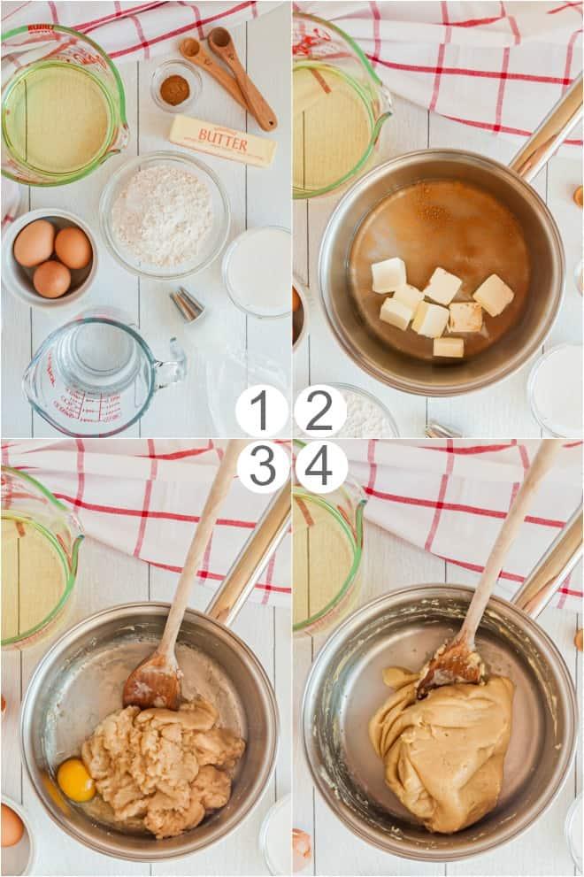 Step by step photos to make homemade Disney Churro Bites.