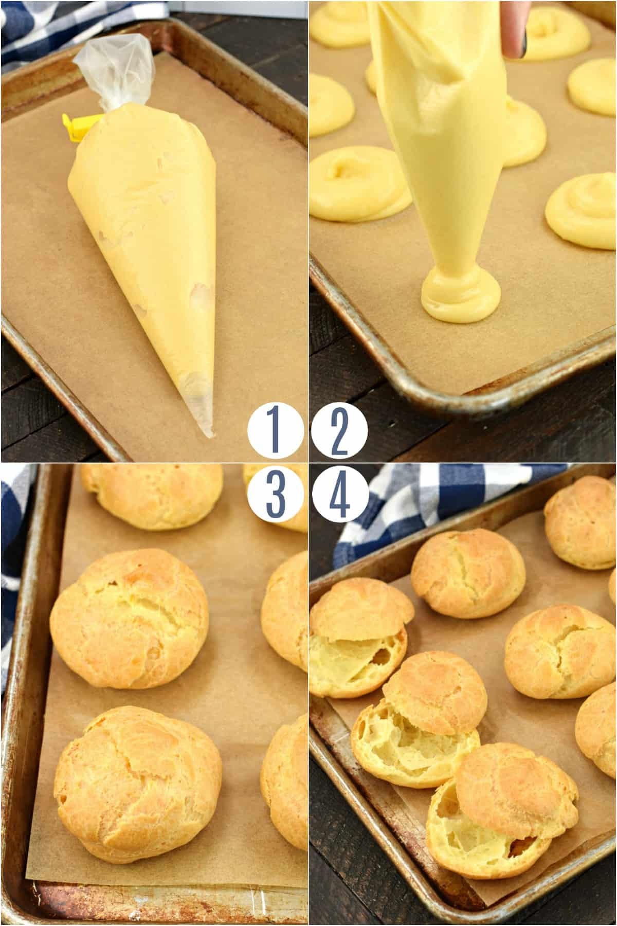 Step by step photos on how to make individual cream puffs.