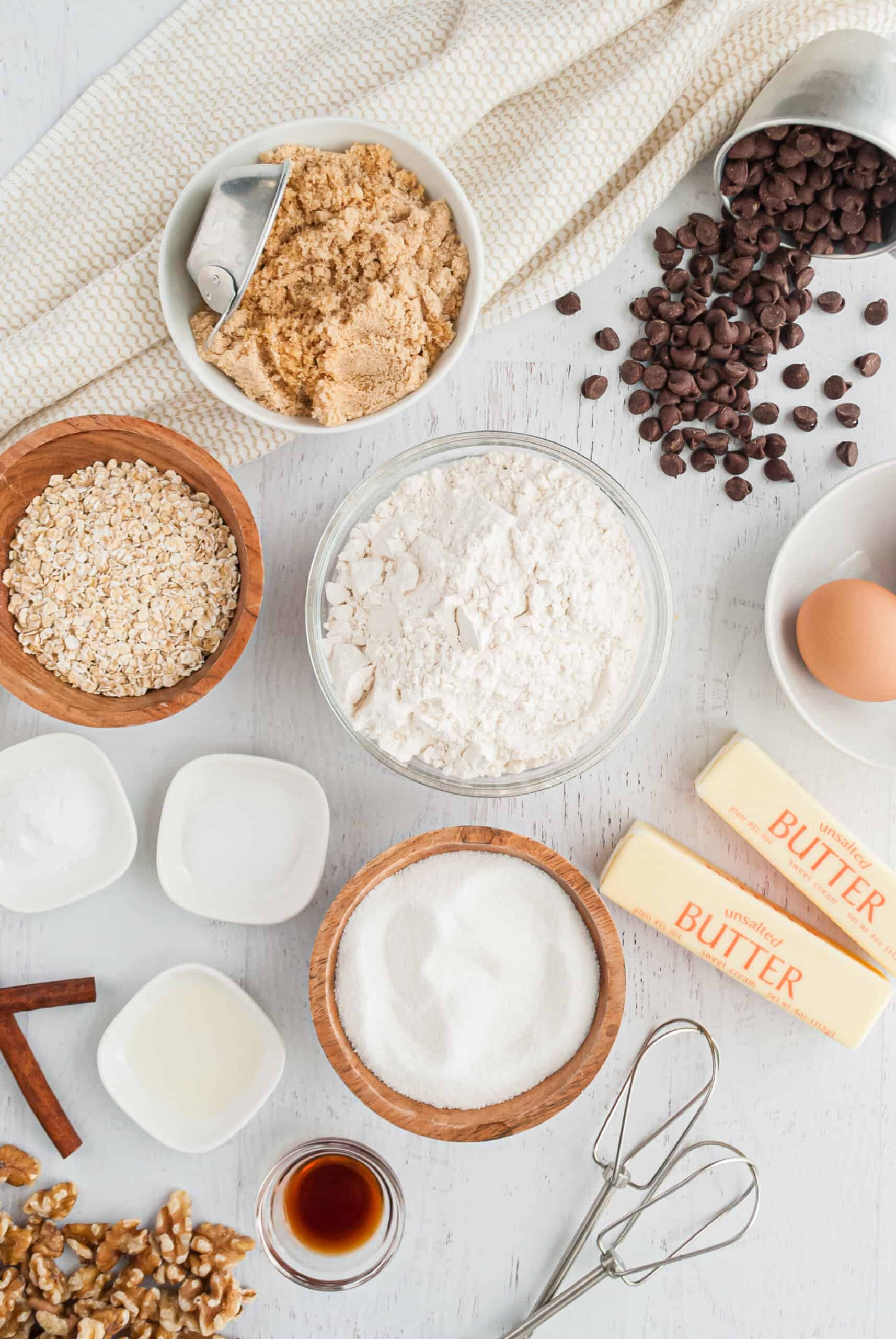 Ingredients to make Doubletree Chocolate Chip Cookies.