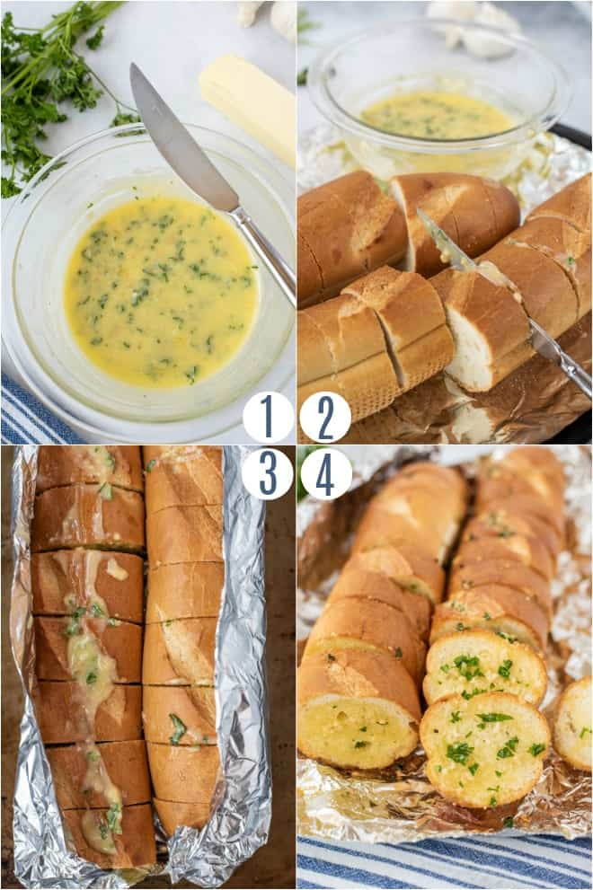 Step by step photos for homemade garlic bread.