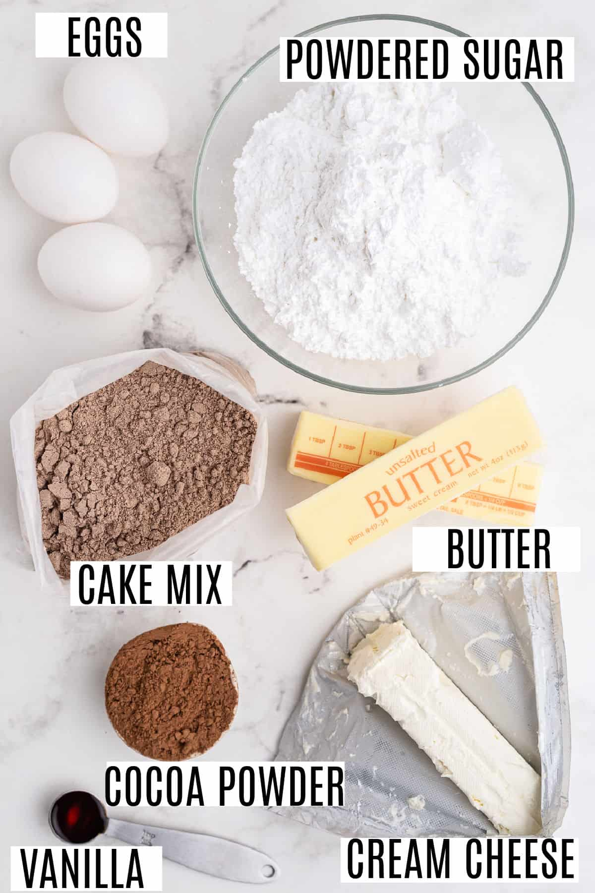 Ingredients needed for gooey brownie bars.