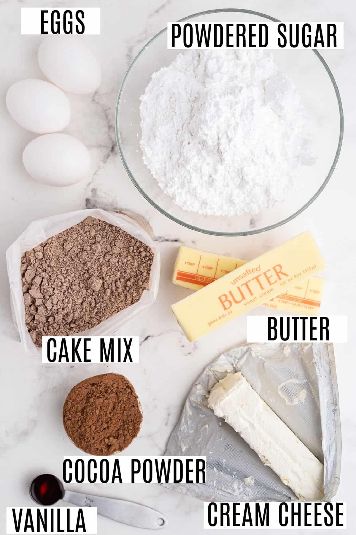 Ingredients needed for gooey brownie bars.