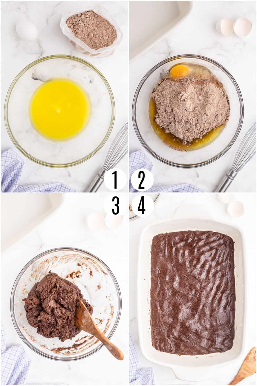Step by step photos showing how to make the first layer of gooey brownie bars.