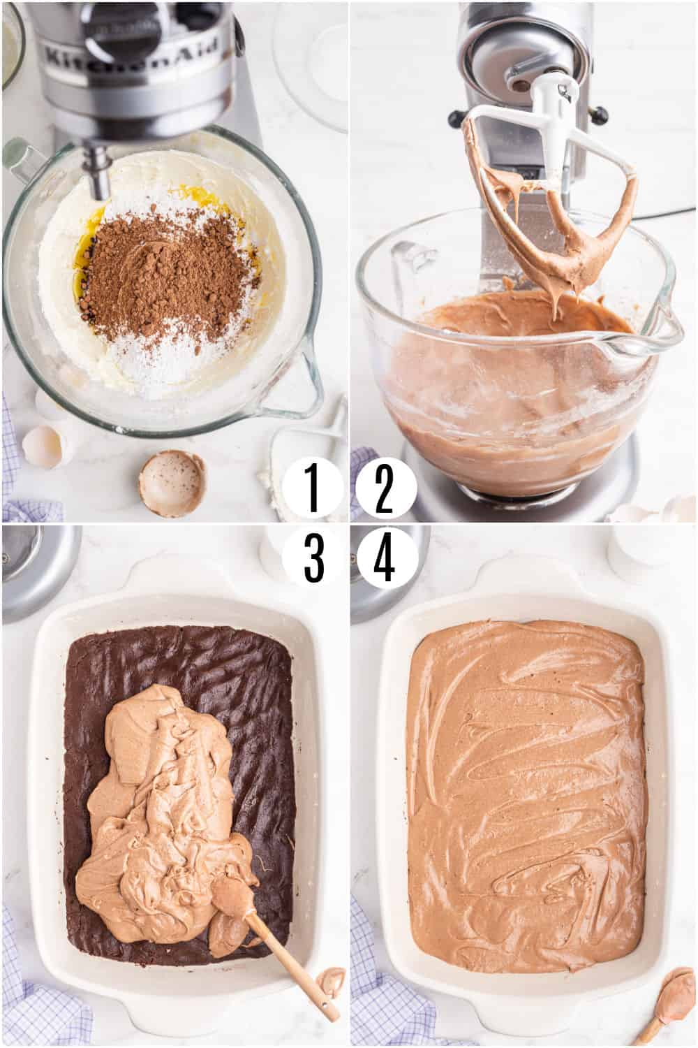 Step by step photos showing how to make the top layer of gooey brownies.
