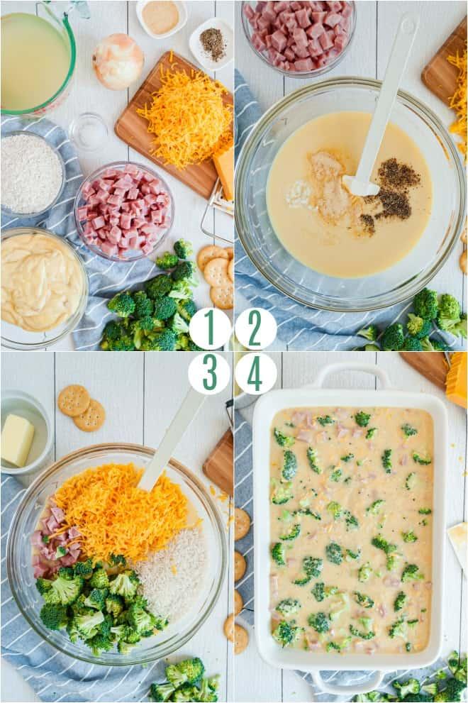 Step by step photos to make a cheesy ham, rice, broccoli casserole.