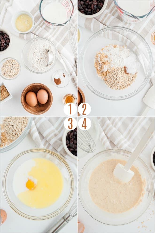 Step by step photos to make oatmeal cookie pancakes.