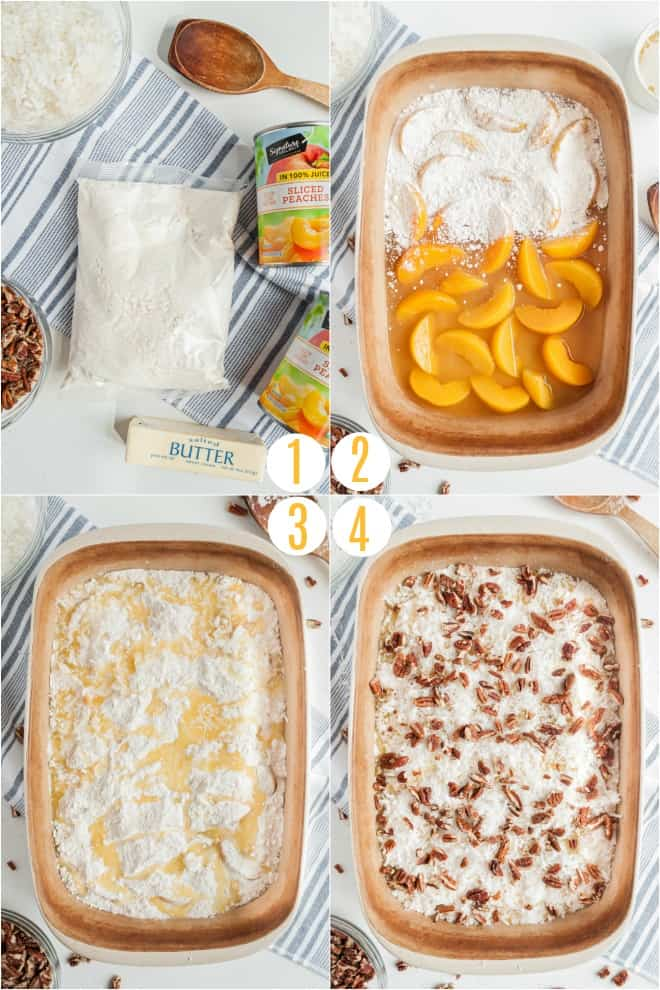 Step by step photos to make peach dump cake in a 13x9 dish.