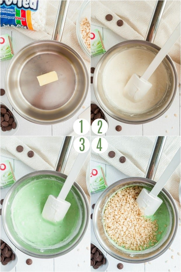Step by step photos to make pistachio pudding krispie treats dessert.