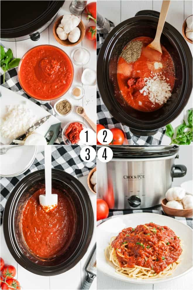 Step by step photos to make spaghetti sauce in the slow cooker.