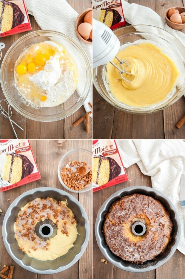 Step by step photos for making streusel bundt cake with a cake mix.