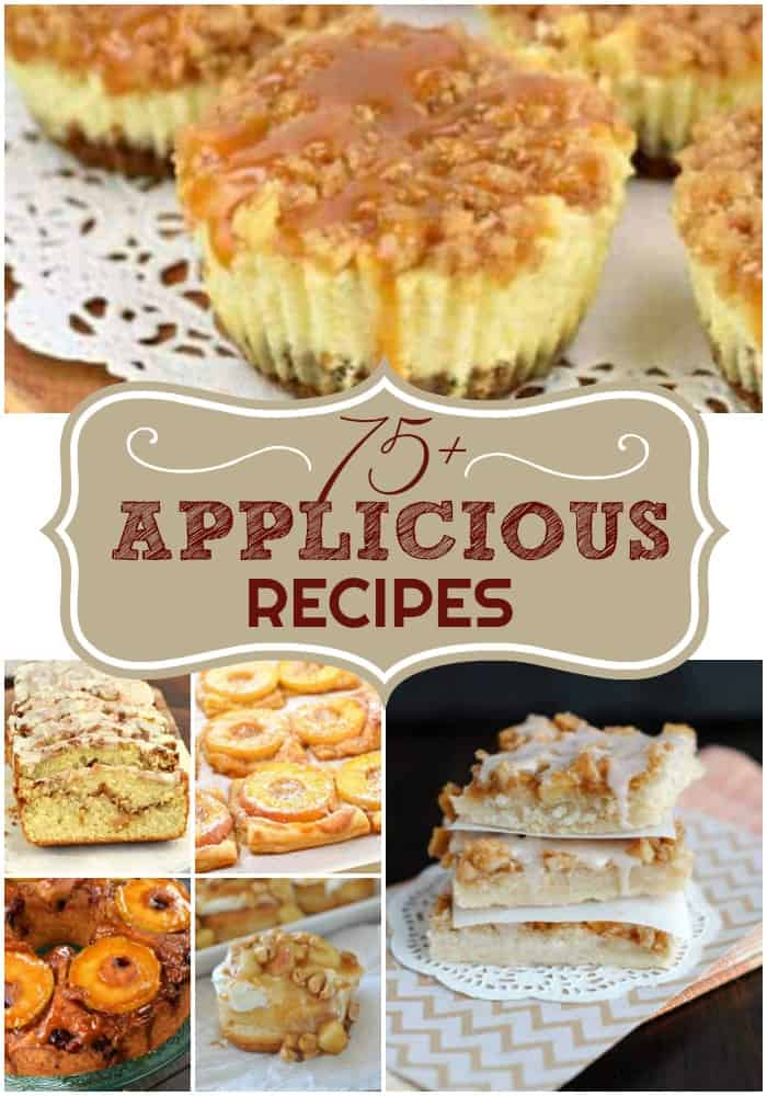 Collage photo of 6 different apple recipes.