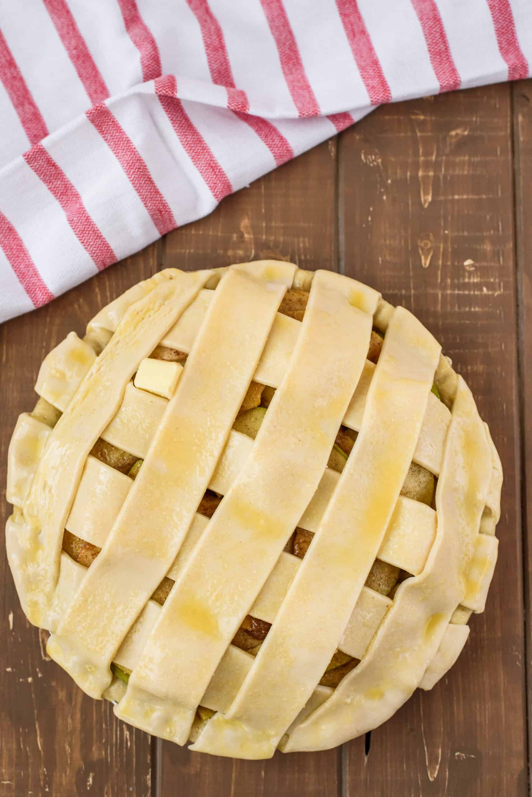 Unbaked pie crust with lattice.