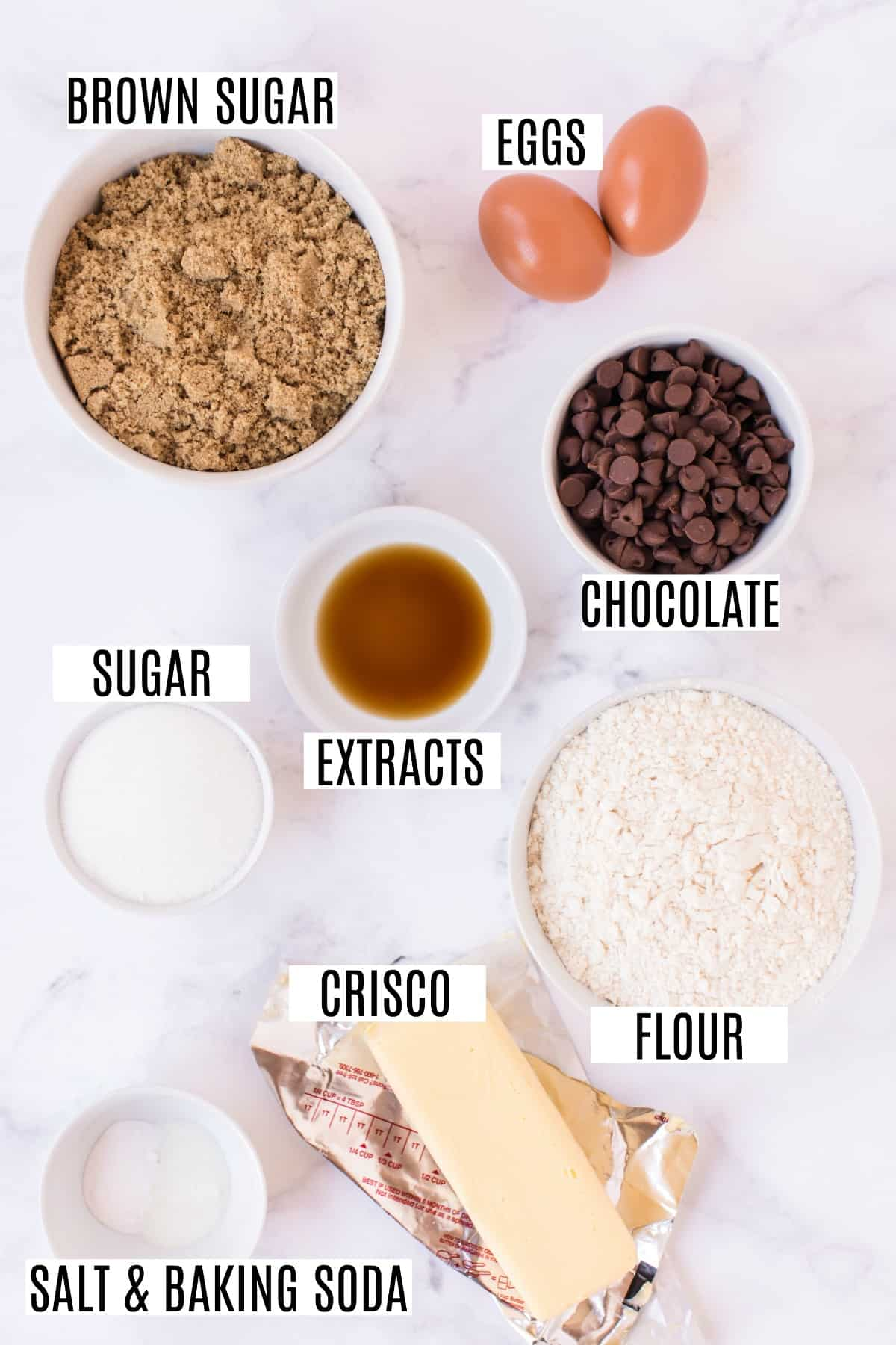 Chocolate chip cookie recipe ingredients.