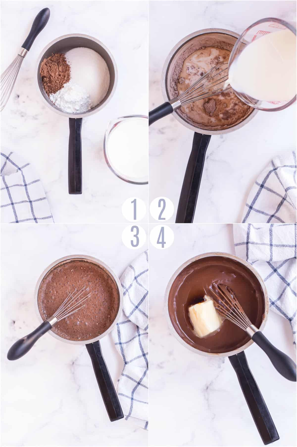 Step by step photos showing how to make homemade chocolate pudding.