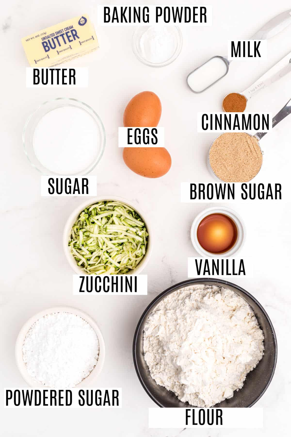 Ingredients needed for homemade zucchini bars.