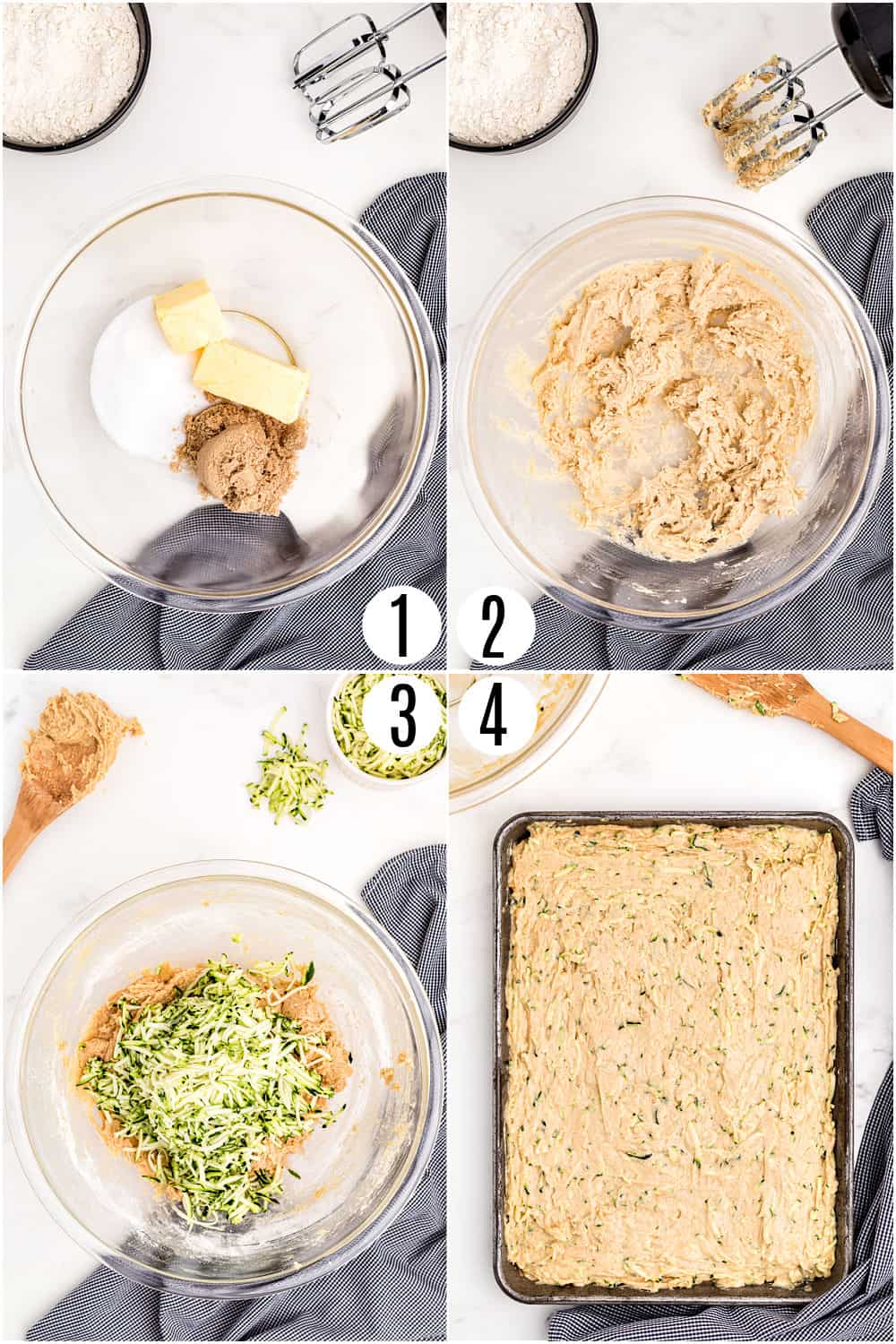 Step by step photos showing how to make cinnamon frosted zucchini bars.