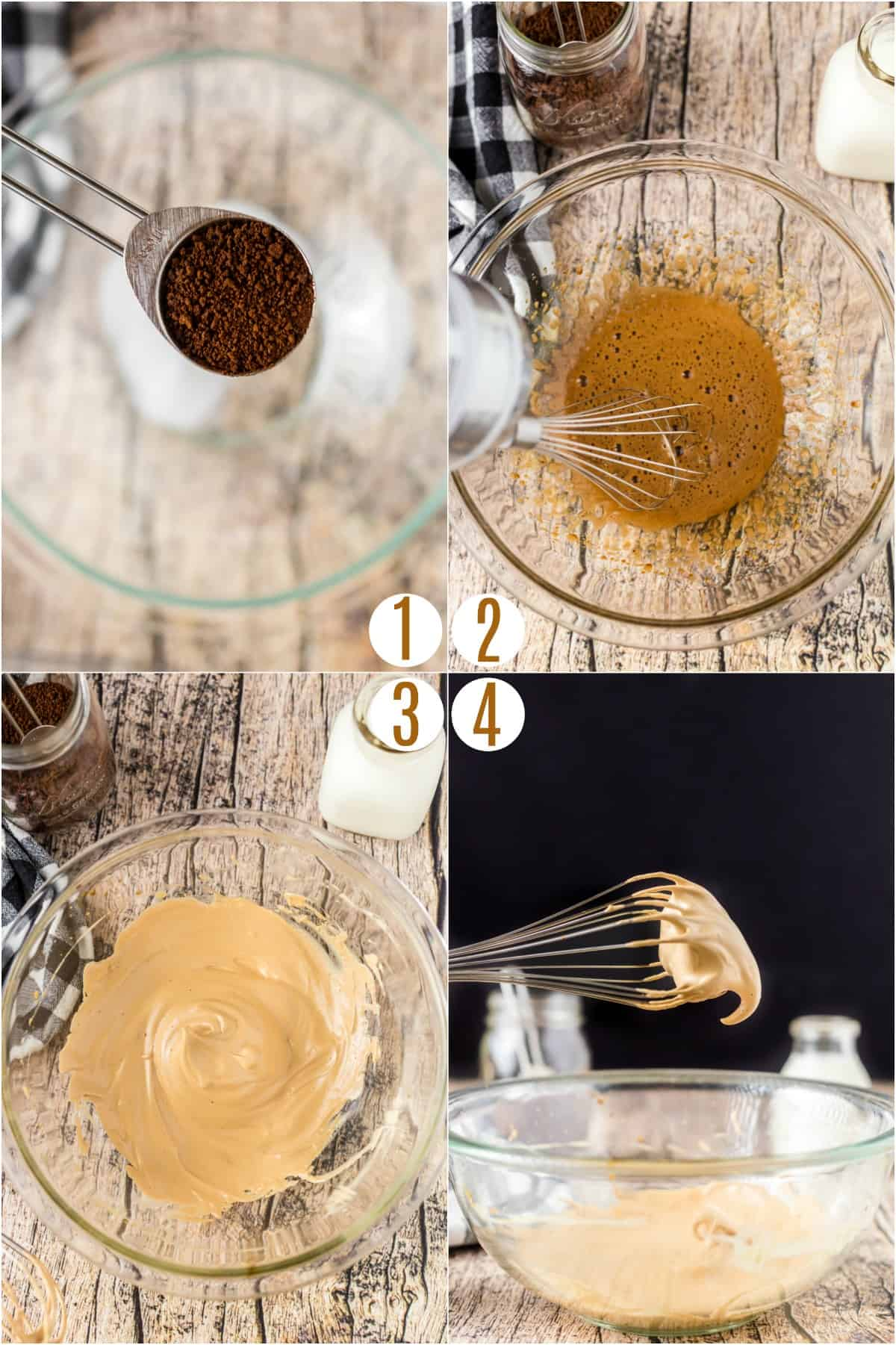 Step by step photo collage on how to make whipped coffee drink.